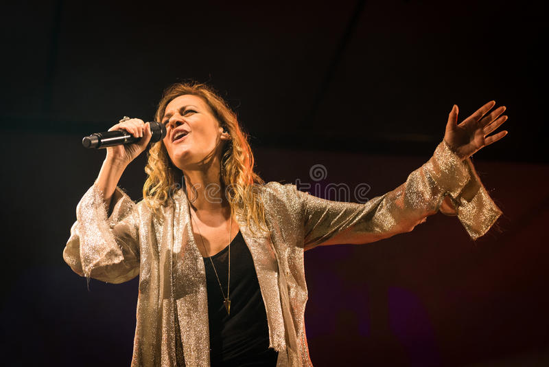 Irene Grandi and Pastis live at Rock sul Serio (BG) 23-07-2017. Bergamo, Italy. 23st July 2017. Italian singer Irene Grandi performs at the Rock sul royalty free stock photos