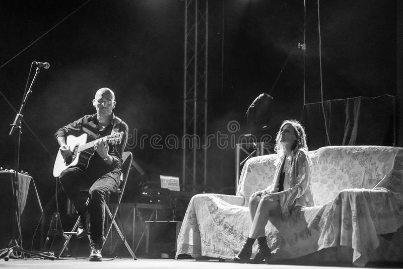 Irene Grandi and Pastis live at Rock sul Serio (BG) 23-07-2017. Bergamo, Italy. 23st July 2017. Italian singer Irene Grandi performs at the Rock sul Serio royalty free stock photo