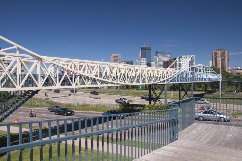 Irene Hixon Whitney Bridge near down town Minneapolis, Minnesota. Irene Hixon Whitney Bridge by Siah Armajani, Bridge length 379 feet, Walking Bridge from Loring stock images