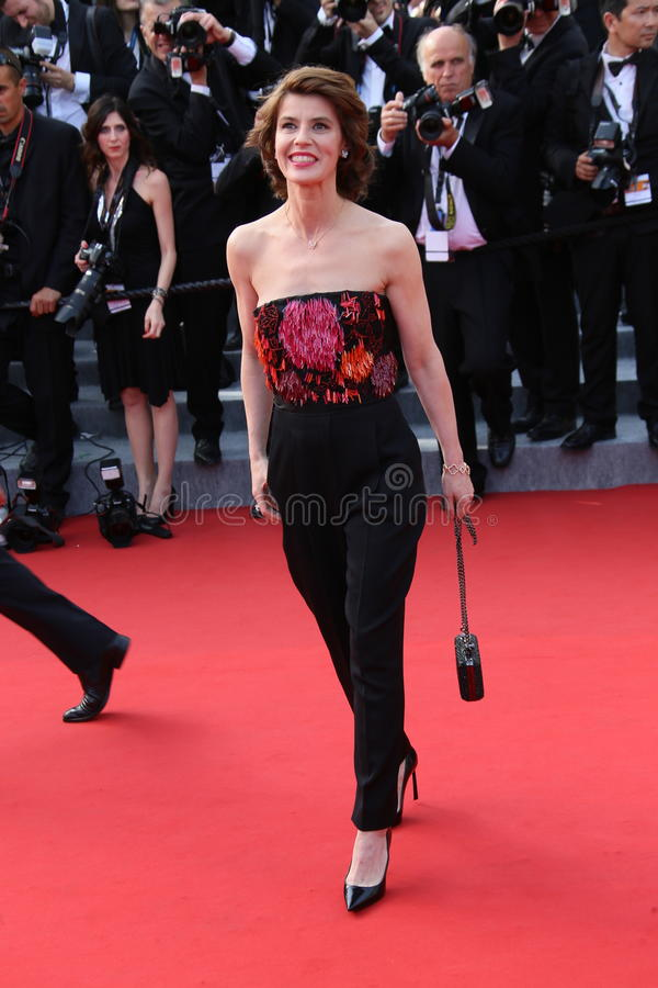 Irene Jacob. Attend the opening ceremony and 'La Tete Haute' premiere during the 68th annual Cannes Film Festival on May 13, 2015 in Cannes, France stock image