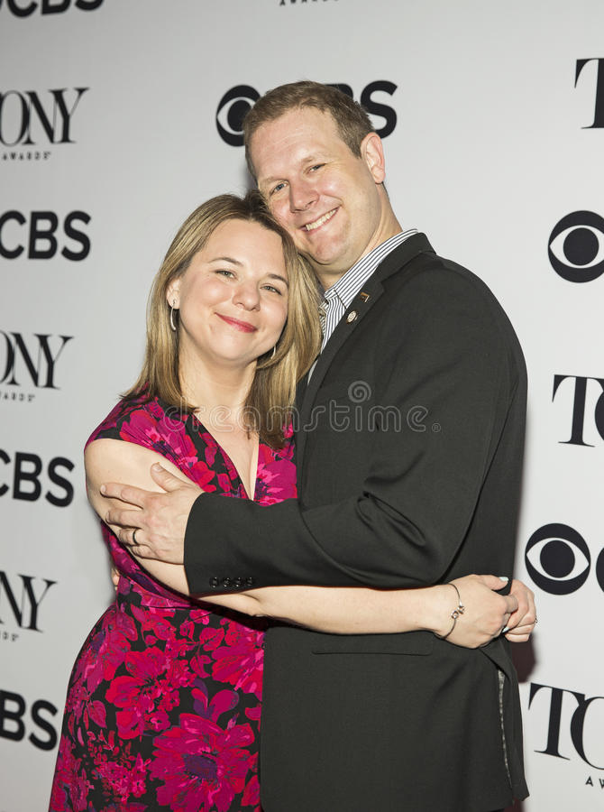 Irene Sankoff and David Hein. arrive for the 2017 Tony Awards Meet the Nominees Press Junket at the Sofitel New York Hotel on May 3, 2017. They stock images