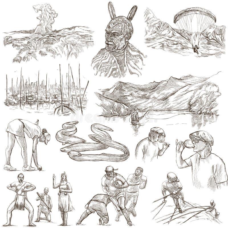Irgendwo in Neuseeland Bilder des Lebens Freihändiger Satz Ein Hand gezeichnetes colle stock abbildung