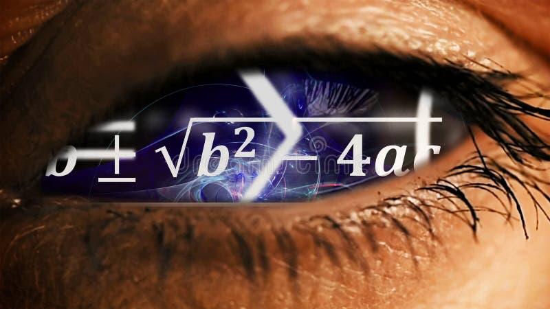 Iride dell'occhio con disordine di equazioni di per la matematica dentro fotografie stock
