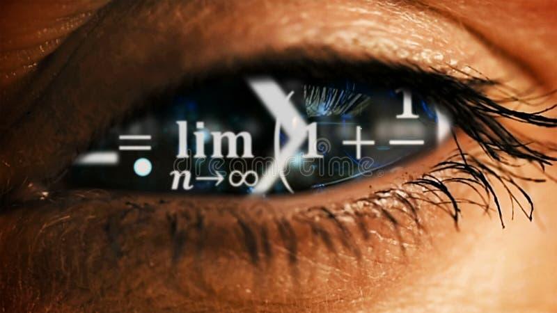 Iride dell'occhio con disordine di equazioni di per la matematica dentro immagini stock