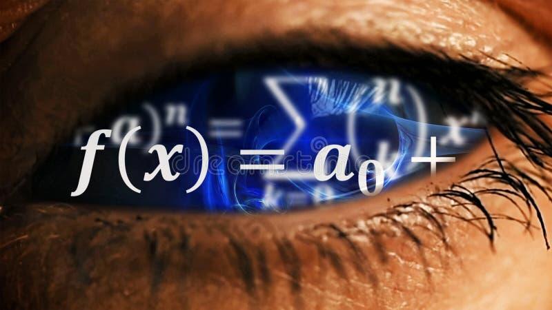 Iride dell'occhio con disordine di equazioni di per la matematica dentro fotografie stock libere da diritti