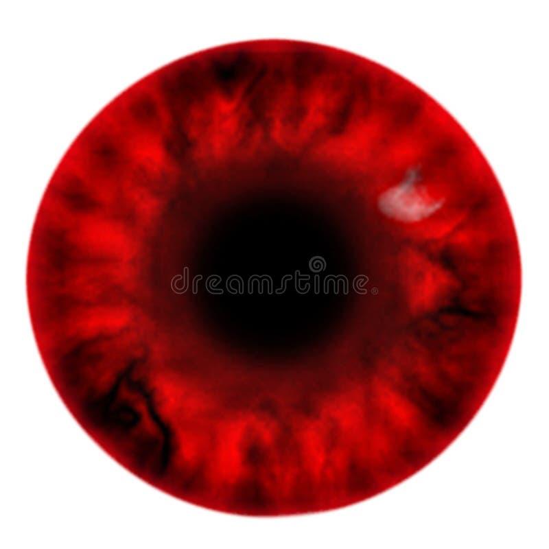 Iride rossa diabolica della pittura di Digital con sangue scuro sparato nel fondo bianco immagine stock