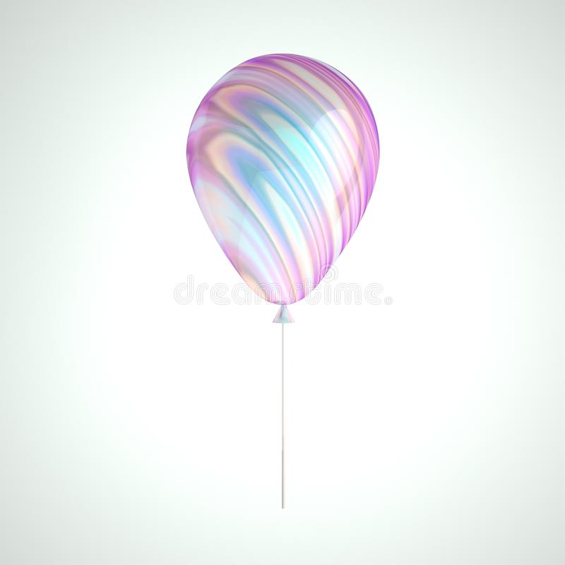 Iridescence holographic foil balloon isolated on gray background. Trendy design 3d element for birthday, presentation, promo, part. Y or other events stock illustration