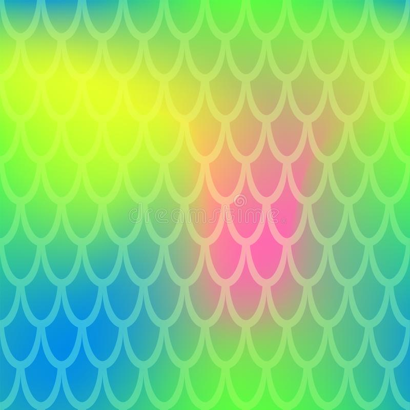 Iridescent fish scale seamless pattern. Neon green yellow mermaid background. Fish skin pattern over colorful mesh stock illustration
