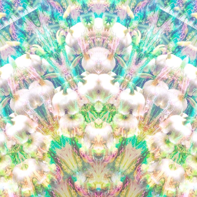 Iridescent glass pattern with floral double exposure. Mirror angles of glass over layers of lilies create psychedelic shimmer and trippy sparkle design stock photos