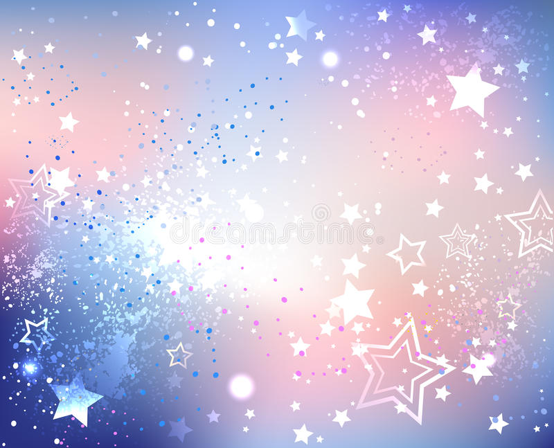 Iridescent pink quartz and serenity. Iridescent textured background fashionable colors of pink quartz and serenity with sparkles and stars stock illustration