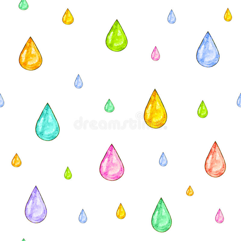 Iridescent rain. Set of color drops for design on a white background. Watercolor drawing. Handwork. Seamless pattern. For design royalty free illustration