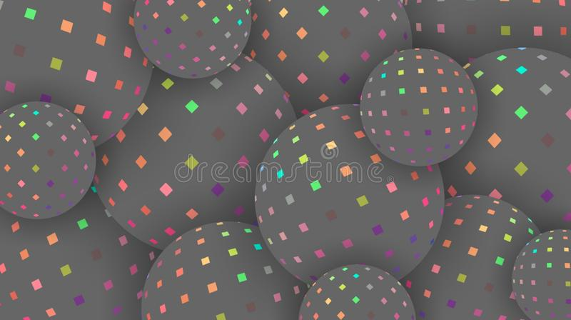 Iridescent spectrum mosaic on grey spheres creative background 3d. Hologram pink green yellow pattern balls. Wallpaper trend. royalty free illustration