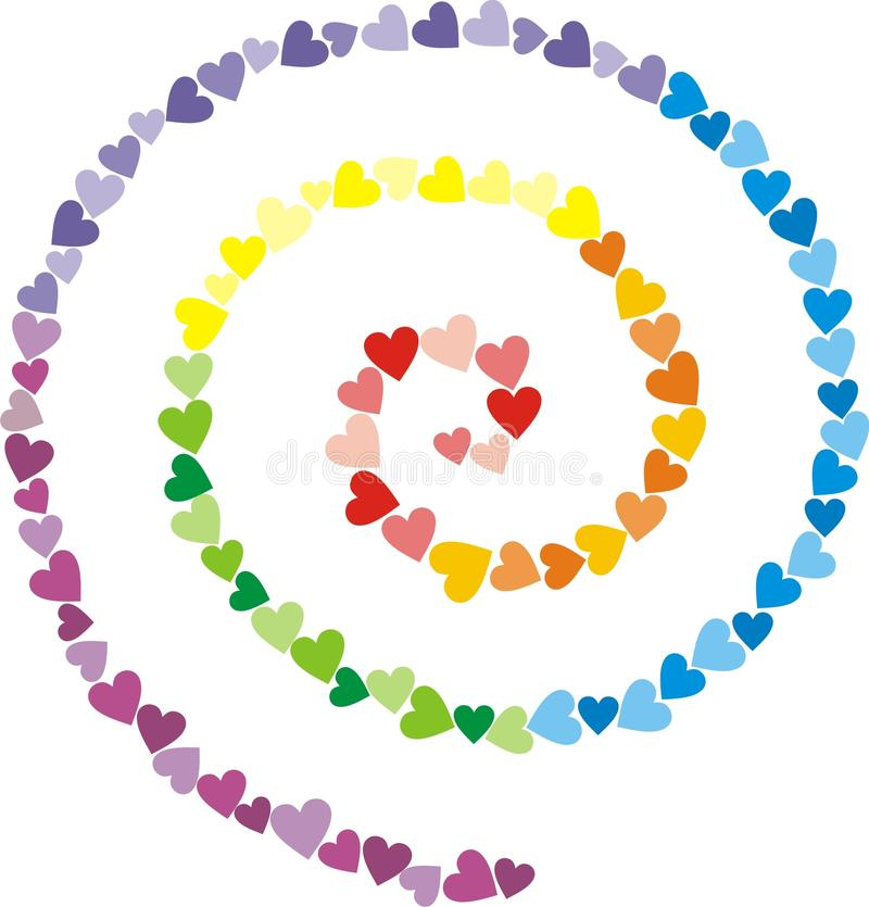 Iridescent spiral from small multi-coloured heart vector illustration