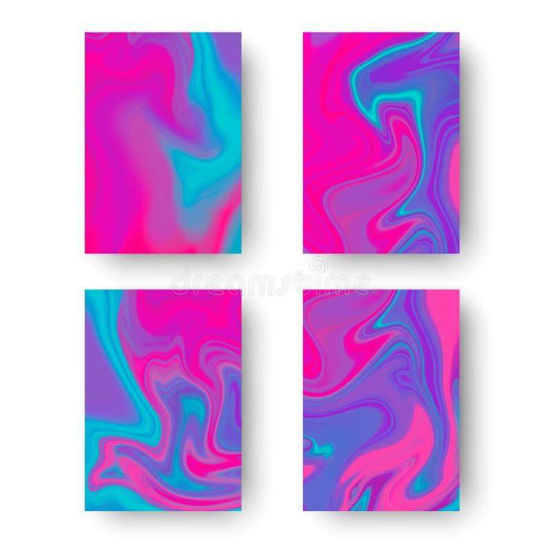 Iridesent okładkowi szablony Fluid barwi tła ustawiających Holograficzny skutek również zwrócić corel ilustracji wektora royalty ilustracja