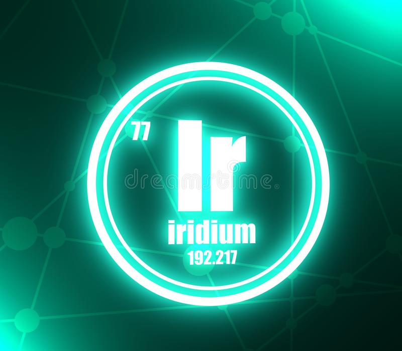 Iridium chemisch element royalty-vrije illustratie