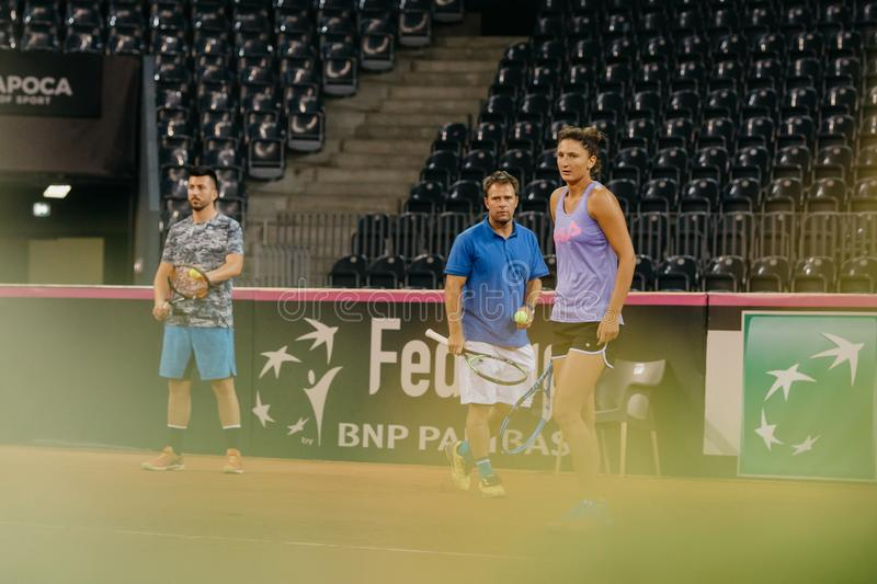Irina Begu training at Fed Cup 2018 Romania stock images