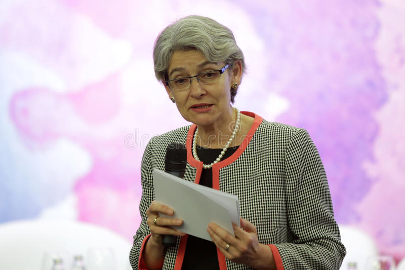 Irina Bokova. Sofia, Bulgaria - May 19, 2016: The Director-General of UNESCO Irina Bokova is speaking to the participants of Global Women Leaders' Forum stock image