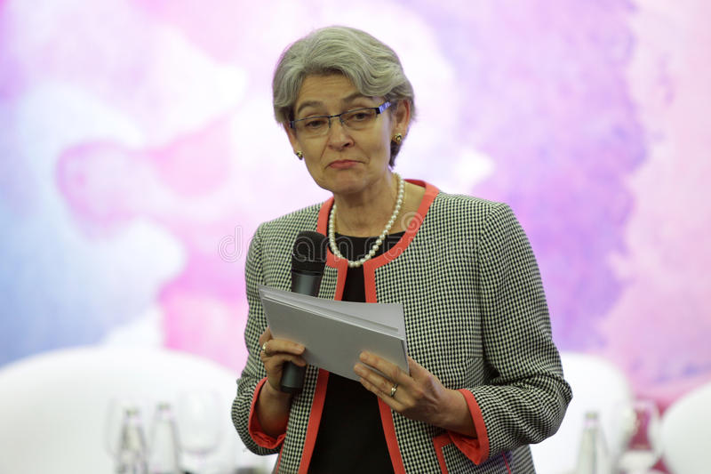Irina Bokova. Sofia, Bulgaria - May 19, 2016: The Director-General of UNESCO Irina Bokova is speaking to the participants of Global Women Leaders' Forum stock photos