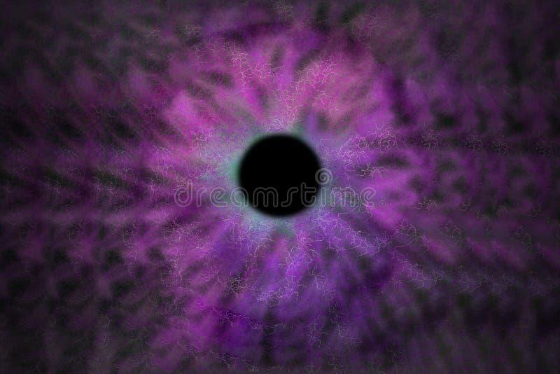 Iris Background - galaxkosmosstil, astronomisk tapet för universum med purpurfärgad violett stardust vektor illustrationer