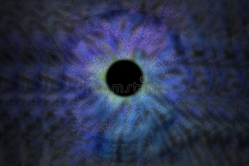 Iris Background - Galaxy Cosmos Style, Universe Astronomic Wallpaper with blue stardust stock illustration