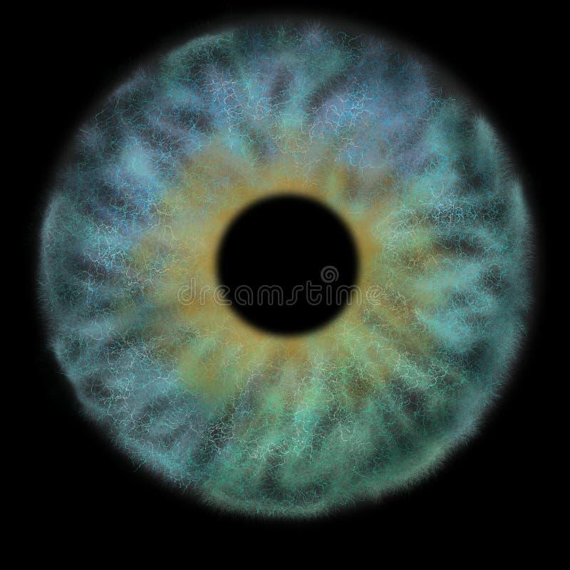 Iris Background - planète dans le style de cosmos de galaxie, papier peint astronomique d'univers avec des chimères bleues de tur illustration libre de droits