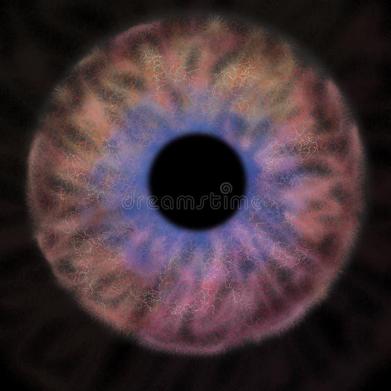Iris Background - planet i galaxkosmosstil, astronomisk tapet för universum med purpurfärgad orange röd stardust royaltyfri fotografi