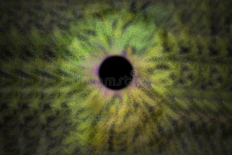 Iris Background - style de cosmos de galaxie, papier peint astronomique d'univers avec des chimères de vert jaune illustration de vecteur