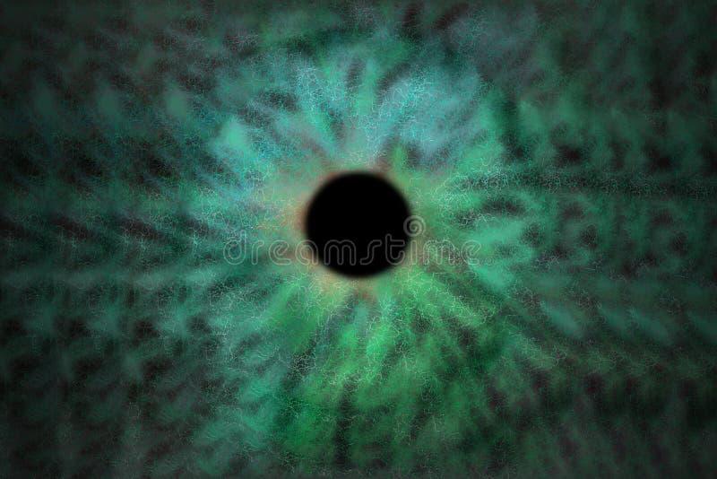 Iris Background - style de cosmos de galaxie, papier peint astronomique d'univers avec des chimères vertes de turquoise illustration libre de droits