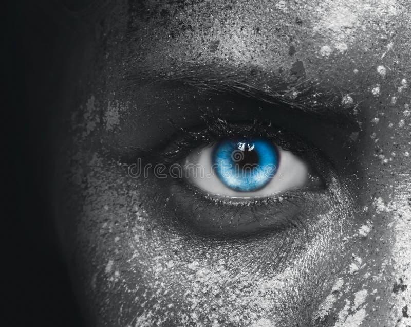 iris bleu noir d'oeil de plan rapproché au-dessus de blanc photos libres de droits