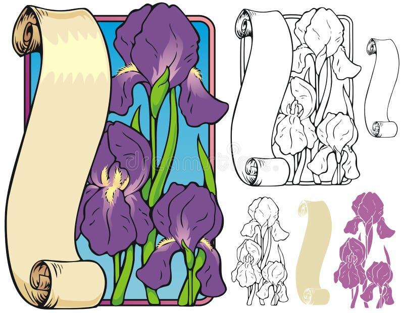 Iris bookplate stock illustratie