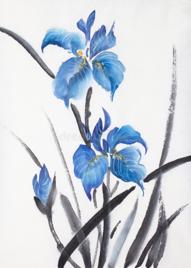 Iris de tres azules ilustración del vector
