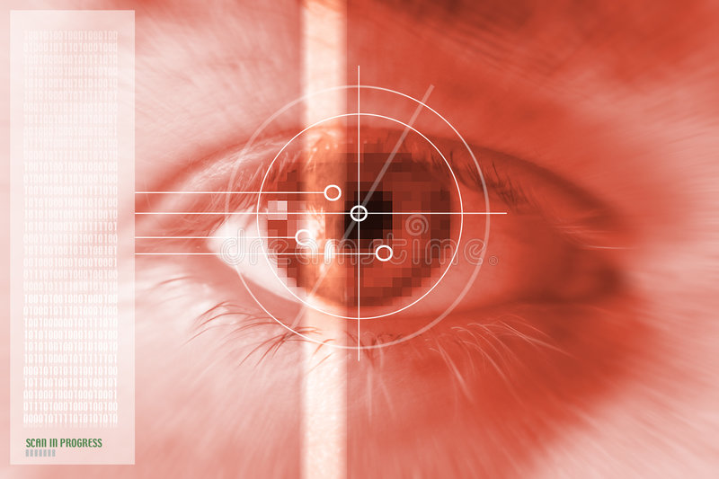 Iris eye scan. Iris or eye rainbow scan. montage in red. security or other safeguard device