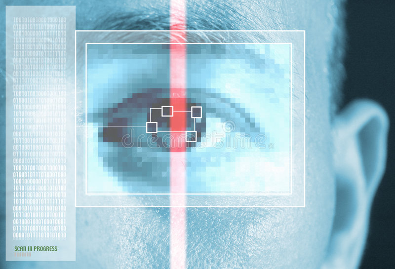 Iris eye scan. Iris or eye rainbow scan. montage in blue. security or other safeguard device