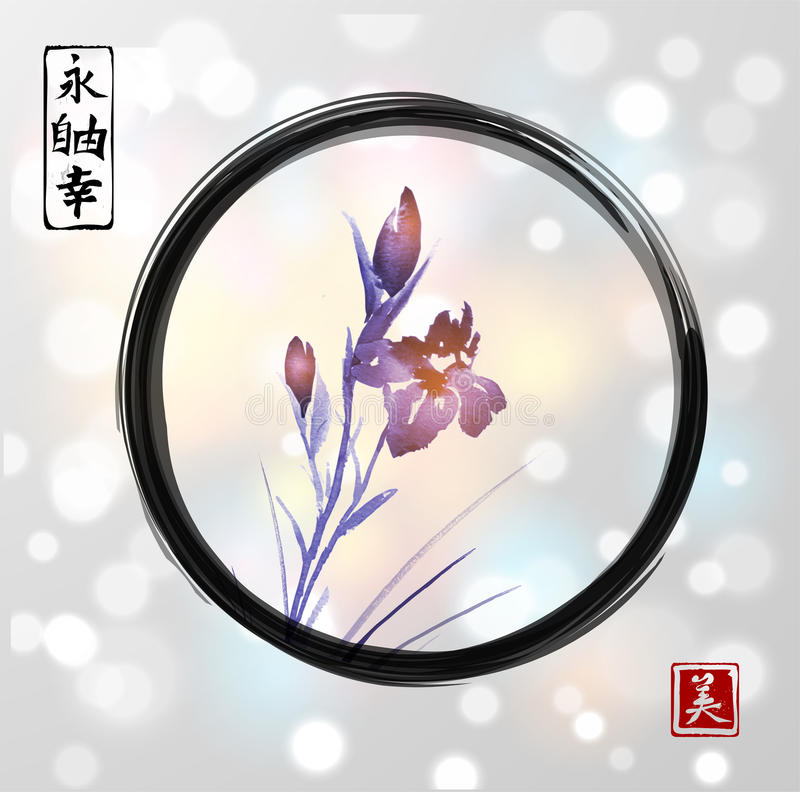 Iris flowers hand drawn with ink in asian style in black enso zen circle on white glowing background. Traditional. Oriental ink painting sumi-e, u-sin, go-hua stock illustration