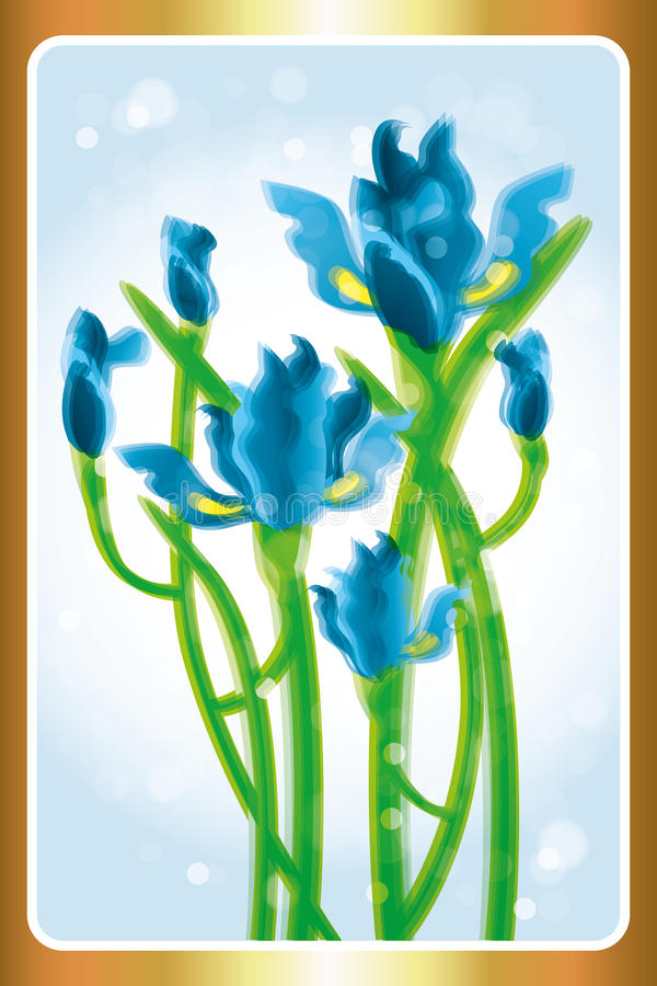 Iris flowers watercolor. Iris flowers in watercolor effect - beautiful illustration stock illustration