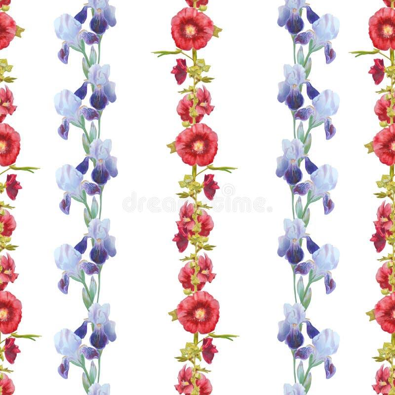 Iris och malva som isoleras på vit Härlig modern sömlös modell med blom- prydnader royaltyfri illustrationer