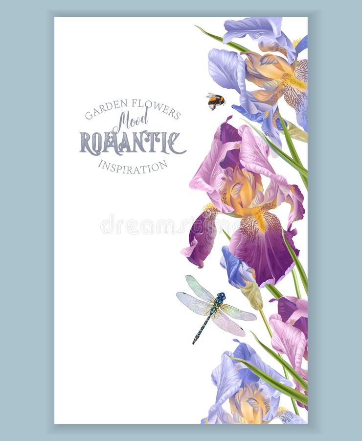 Iris vertical border royalty free illustration
