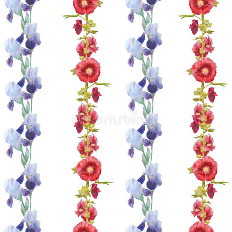 Iris y malva aislados en blanco ilustración del vector