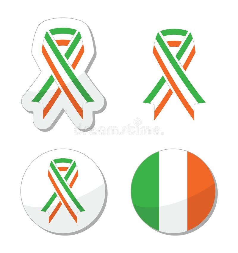 Irische Farbbandflaggenkennsätze - Feier St. Patricks Tages lizenzfreie abbildung