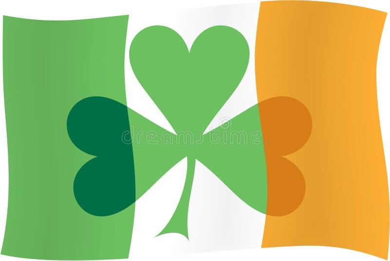 Irische Markierungsfahne u. irischer Shamrock stock abbildung