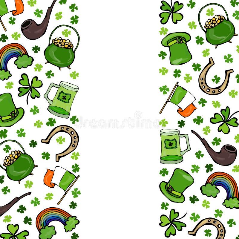 Irische Symbole St. Patricks Tages Grüner Hut, Hufeisen, Goldschatz, Flagge, Bierkrug, Regenbogen, Klee, Rohr, Shamrock Vektor il lizenzfreie abbildung