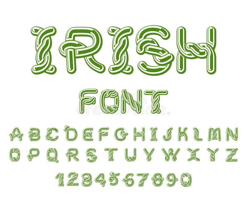 Irischer Guss Nationales keltisches Alphabet Traditionelles Irland-orname lizenzfreie abbildung