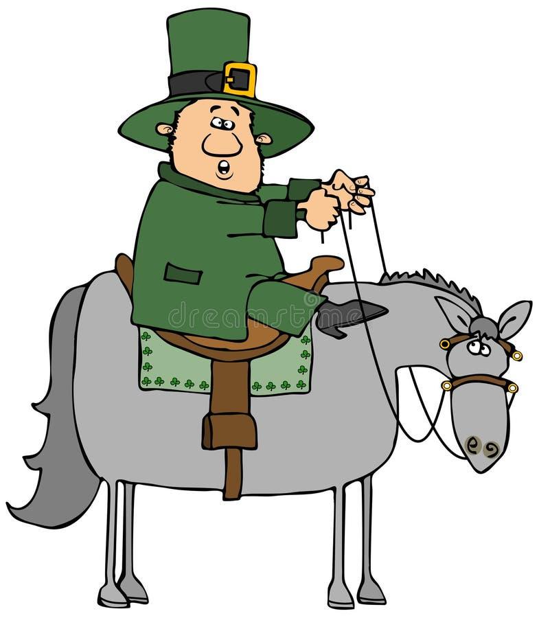 Irischer Kobold auf einem grauen Pferd lizenzfreie abbildung