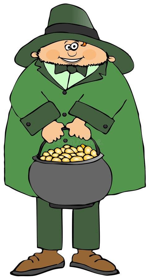 Irischer Kobold mit Goldtopf stock abbildung