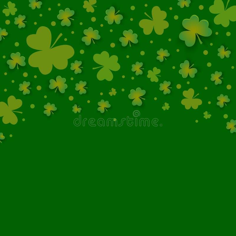 Irischer Shamrock verlässt Hintergrund für glücklichen St Patrick Tag stock abbildung