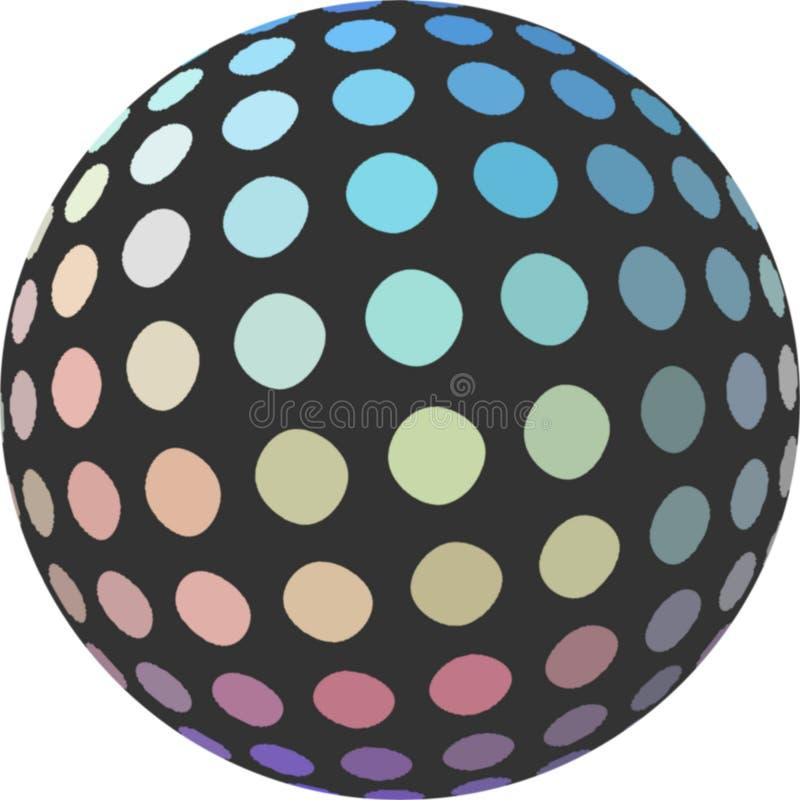 Iriserende blauwe gele roze gedempte mozaïekbal 3d op witte geïsoleerde achtergrond Creatief element voor ontwerp royalty-vrije illustratie