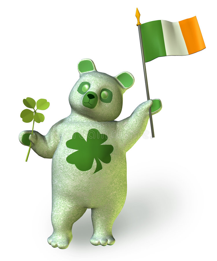Irish Bear _ includes clipping path royalty free stock image