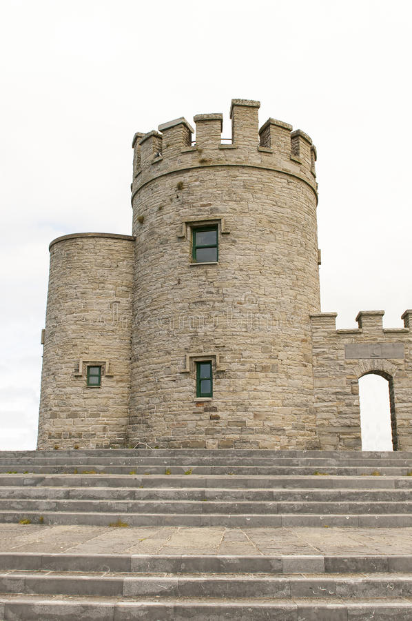 Irish castle tower. Medieval Irish castle tower. O'Brien's Tower, County Claire, Ireland stock photo