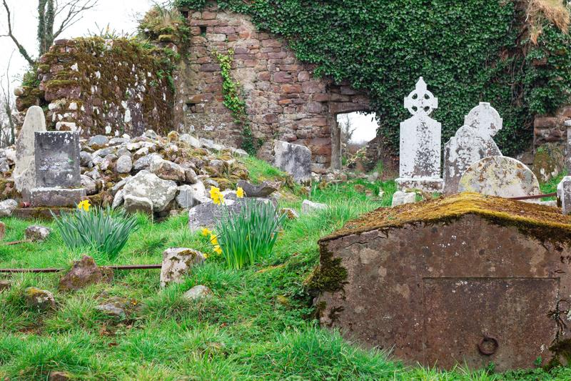 Irish cemetery ruins in countryside of Ireland stock image