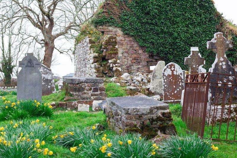 Irish cemetery ruins in countryside of Ireland stock photos